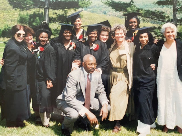 Marist College Graduation at FCI Danbury Camp, 1993. Eddie Ellis kneeling, Mar Peter-Raoul, Barbara Zahm, and Benay Rubenstein in front.