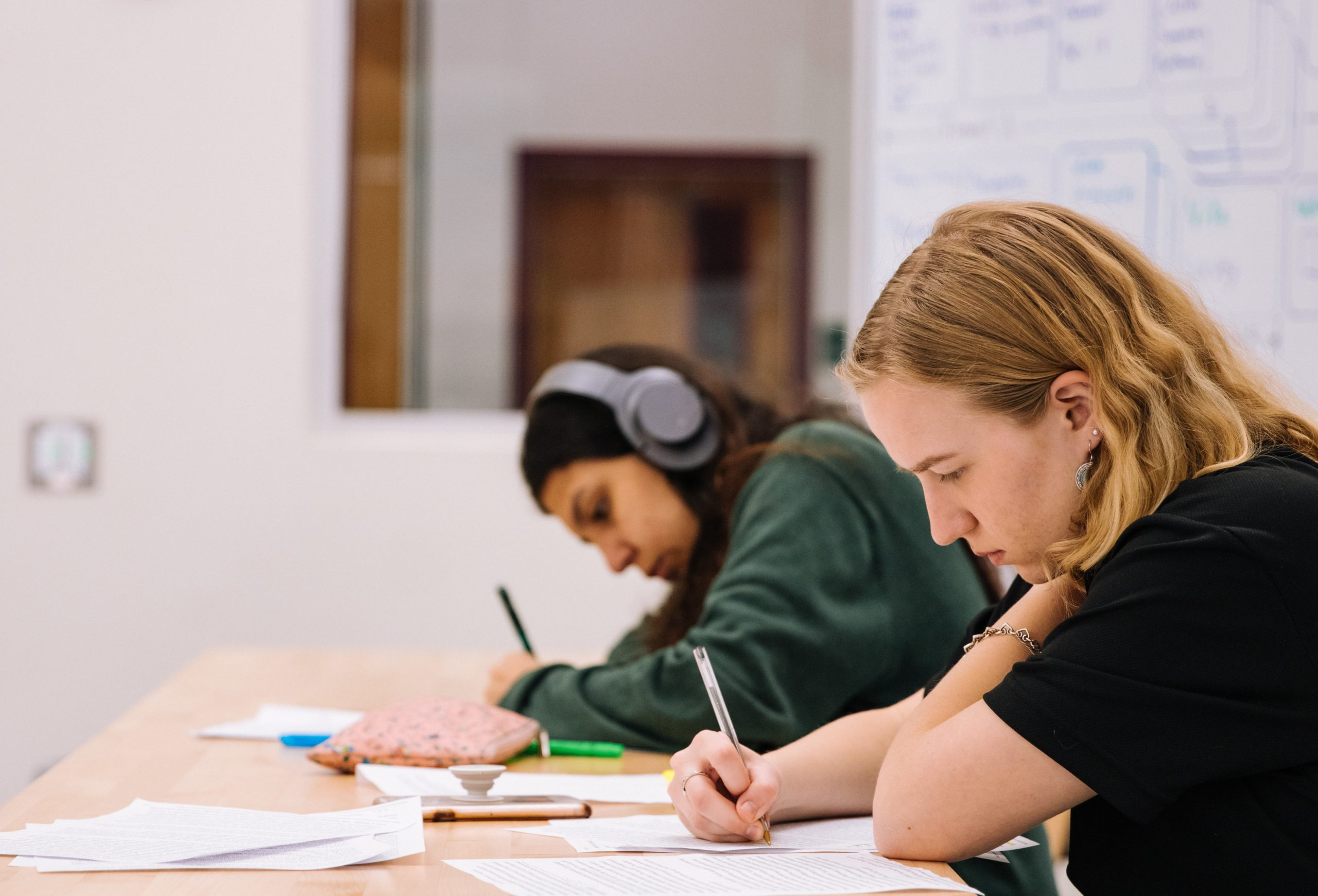 Adult students writing